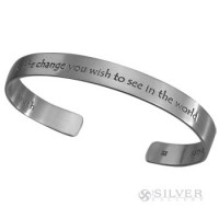 "Sterling Silver Cuff Bracelet - Gandhi ""Be the Change"