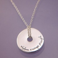 Sterling Silver Quote Necklace - Wisdom, Courage, Strength