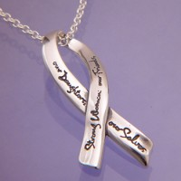 Sterling Silver Ribbon Necklace - Strong Women
