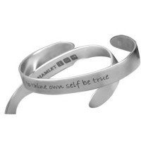 Shakespeare Quote Cuff Bracelet - To Thine Own Self Be True