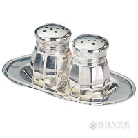 Empire Sterling Silver Large Salt and Pepper Set with Tray