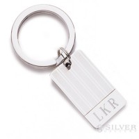 Sterling Silver Key Ring - Elegant Pinstripe