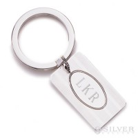 Sterling Silver Keyring - Pinstripe Oval Tag
