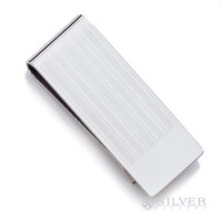 Sterling Silver Money Clip - Elegant Pinstripe