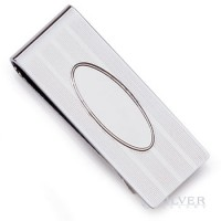 Sterling Silver Money Clip - Pinstripe Oval