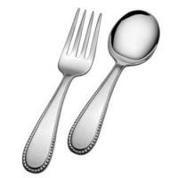 Gorham Sterling Beaded Baby Fork & Spoon Set