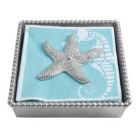Mariposa Beaded Napkin Box with Starfish Weight