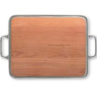 Match Pewter Cheese Tray with Cherry Wood and Handles - Extra Large