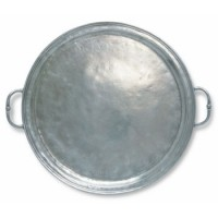 Match Pewter Round Tray with Handles - Small