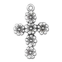 "Floral Cross Pendant Necklace w/18"" Chain"