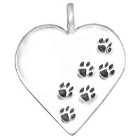 "Pawprints on your Heart Pendant w/18"" Chain"
