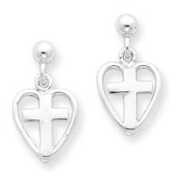 Sterling Silver Cross in Heart Earrings