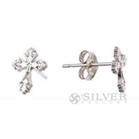 Sterling Silver Petite Cross Earrings