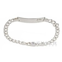 Sterling Silver Baby ID Bracelet with Raised Heart