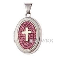 Sterling Silver Light Rose Cross Locket