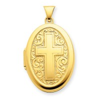 Gold Plated Oval Cross Locket