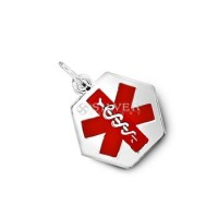Sterling Silver Hexagon Medical ID Pendant