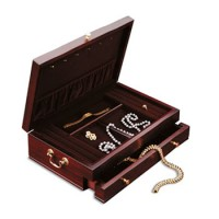 Reed and Barton Duchess II Jewelry Chest - Mahogany/Dior Red