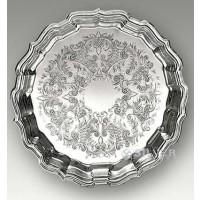 Reed & Barton Embossed Round Chippendale Tray - Large