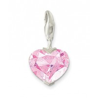 Sterling Silver & Pink CZ Heart Charm