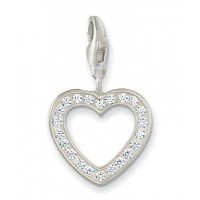 Open Heart Charm - White CZ & Sterling Silver