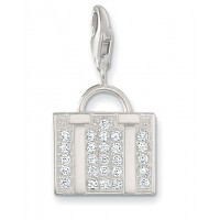Suitcase Charm - Sterling Silver & White CZ