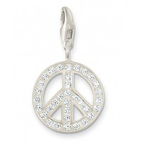 Peace Charm - White CZ & Sterling Silver