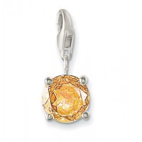Round Pendant - Champagne CZ & Sterling Silver