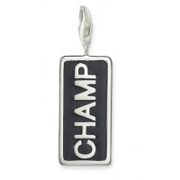 CHAMP Charm - Black Enamel & Sterling Silver