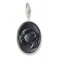 Onyx Cancer Charm - Sterling Silver