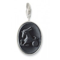 Onyx Capricorn Charm - Sterling Silver
