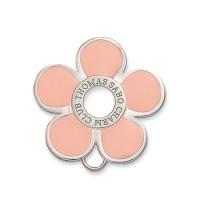 Flower Charm Brooch - Pink Enamel & Sterling Silver