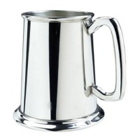 Salisbury Pewter Satin Finish Glass Bottom Tankard - 16 oz