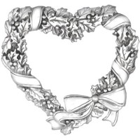 Sterling Silver Holly Heart Ornament