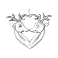 Sterling Silver Reindeers Ornament