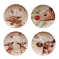 Casafina Deer Friends Dinner Plates - Set of 4