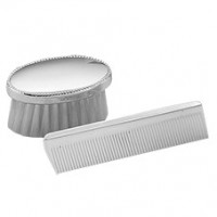 Empire Sterling Silver Oval Beaded Boy's Comb & Brush Set