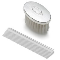 Empire Sterling Silver Oval Engine Turned Boy's Comb & Brush Set