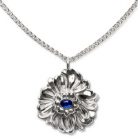 Galmer Chrysanthemum Pendant Necklace Sapphire