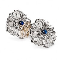 Galmer Chrsysanthemum Earrings w/ Sapphire Centers