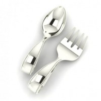 Sterling Silver Beaded Loop Baby Spoon & Fork Set