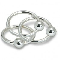 Triple Ring Sterling Silver Baby Teether Rattle