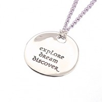 Explore Dream Discover - Sterling Silver Quote Necklace