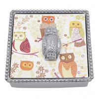 Mariposa Napkin Box with Owl Weight - Available from SilverGallery.com