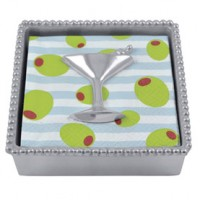 Mariposa Beaded Napkin Box w/Cocktail Glass Weight