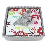 Mariposa Beaded Napkin Box w/Butterfly Weight