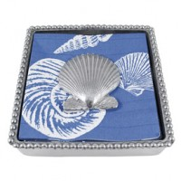Mariposa Scallop Shell Beaded Napkin Box