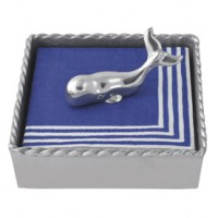 Mariposa Twist Napkin Box w/Whale Weight