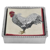 Mariposa Beaded Napkin Box with Rooster Weight