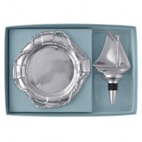 Mariposa Sailboat Bottle Stopper and Life Ring Wine Plate Set